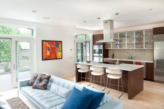 wohnzimmer küche design:sehr attraktives wohnzimmer mit küche – weiße gestaltung