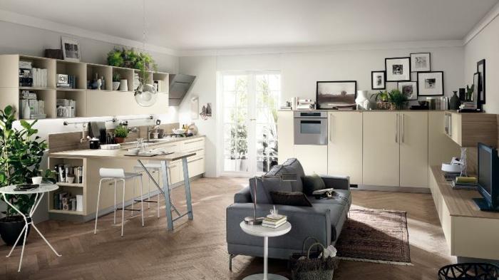 wohnzimmer mit k che 34 moderne designs. Black Bedroom Furniture Sets. Home Design Ideas