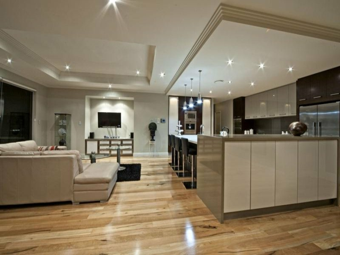 wohnzimmer küche design:interessante deckenleuchten – wohnzimmer mit küche