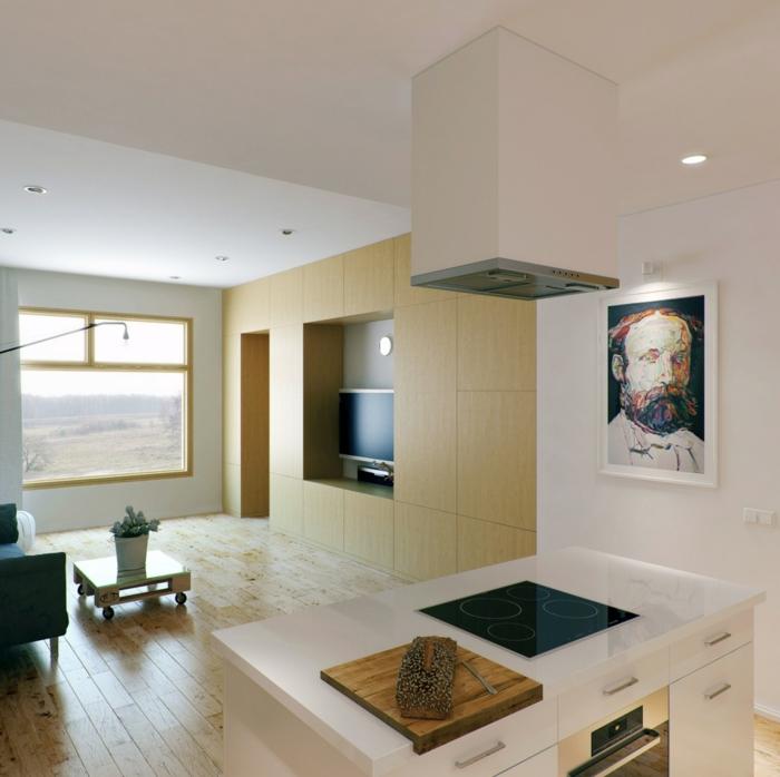 wohnzimmer-mit-küche-weiße-ausstattung