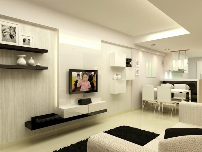 Wohnzimmer mit k che 34 moderne designs for Innenausstattung wohnzimmer