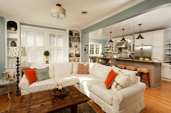 wohnzimmer küche design:super gemütliches wohnzimmer mit küche – weißes ecksofa ~ wohnzimmer küche design