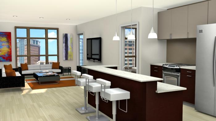 wohnzimmer küche design:Luxuriöses Wohnzimmer mit Küche – wunderschöne Beleuchtung!
