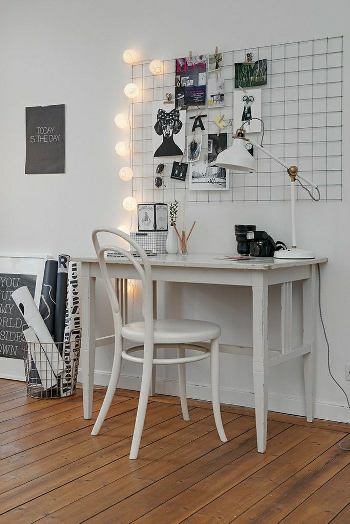 Arbeitszimmer-schwedisches-Design-weiß-Stuhl-vintage-Schreibtisch-Leselampe-Fotos-kleine.Papierlampen