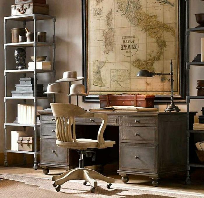 Büro-vintage-Design-Regale-retro-Stuhl-Holz-Schreibtisch-Schubladen-Kasten-Leselampe-Europa-Karte