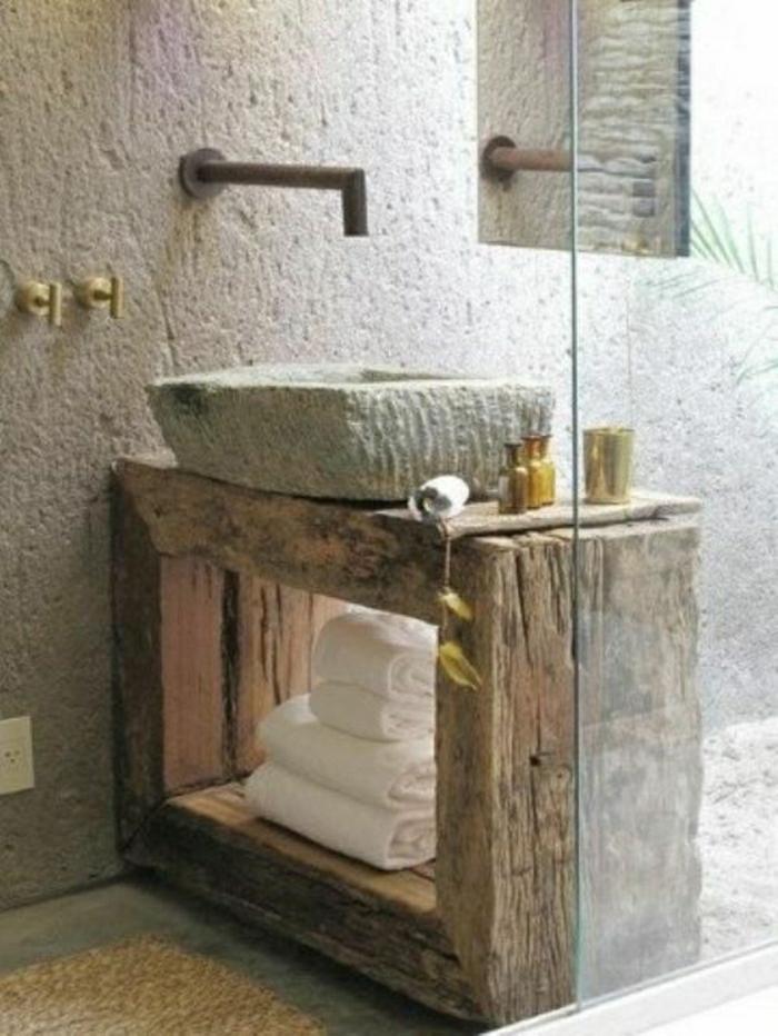 Badezimmer-Waschbecken-Stein-Tücher-rustikal