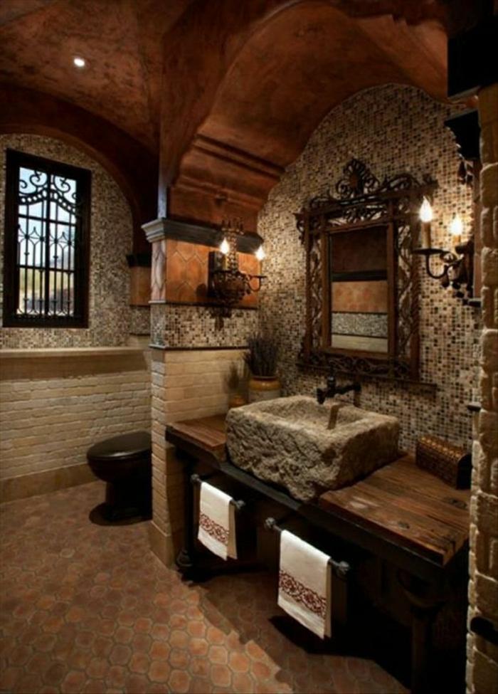 Badezimmer-rustikal-Holz-Wände-Mosaik-Ziegel-Waschbecken-Stein