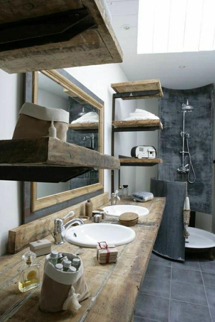 Badezimmer-rustikale-Möbel-Regale-Waschbecken-Holz-Dusche