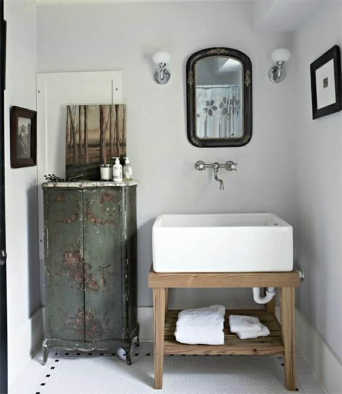 Badezimmer-rustikale-Möbel-Schrank-Konsole-Waschbecken