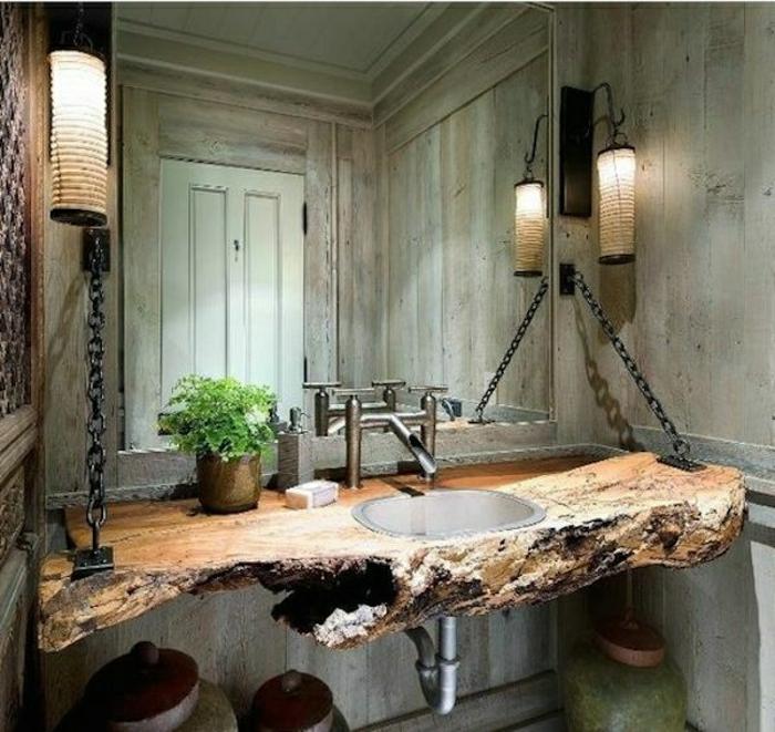 Badezimmer-rustikales-Design-Tischplatte-Treibholz-Ketten-Leuchten