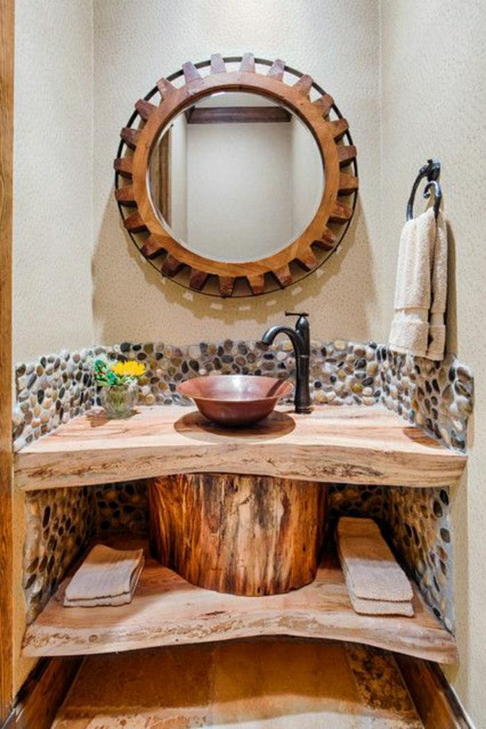 Badezimmer-rustikales-Design-hölzerne-Tischplatten-Wand-dekorative-Steine