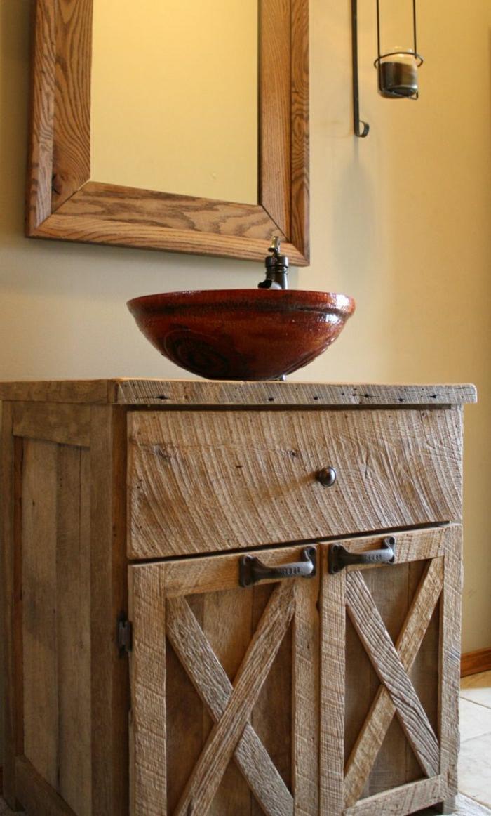 Badezimmer-rustikales-Design-hölzerner-Unterschrank-Spiegel-Rahmen-rundes-Waschbecken