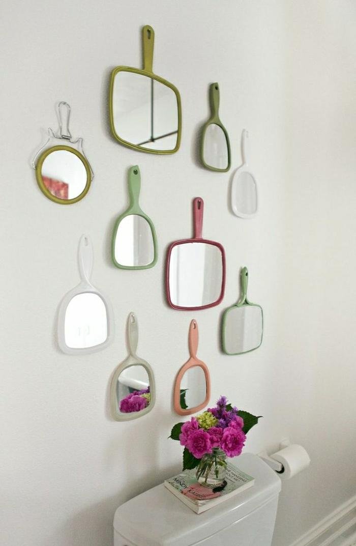 Badezimmer-schick-Einrichtung-Wanddekoration-farbige-Spiegel