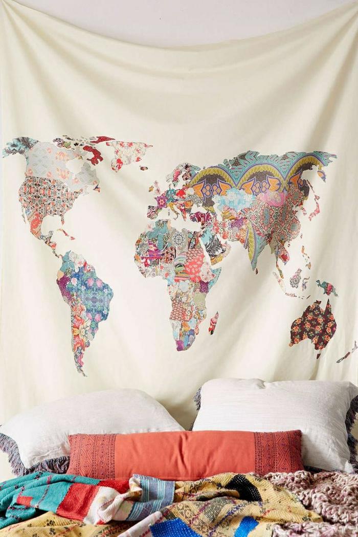 Boho-Chic-Schlafzimmer-Wanddeko-Leinwand-Weltkarte