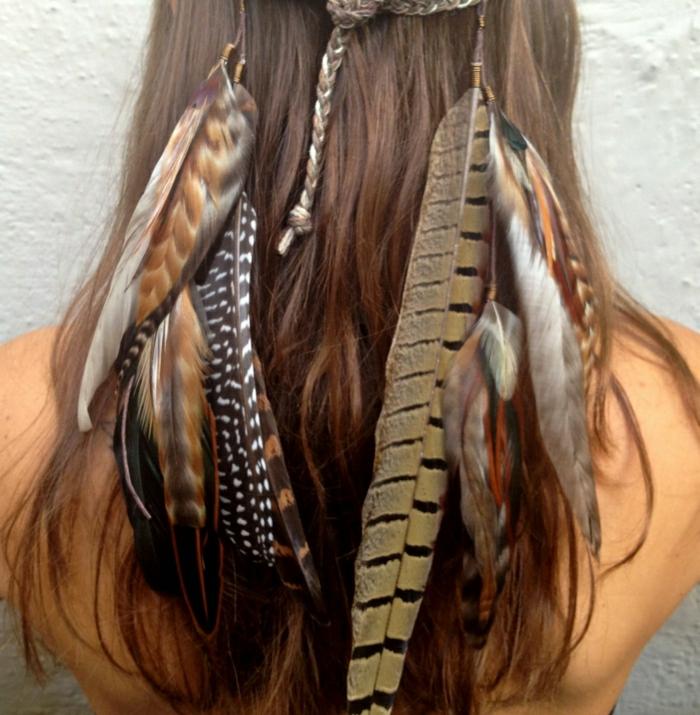 Boho-Hippie-Schmuck-Stirnband-Federn-Accessoire