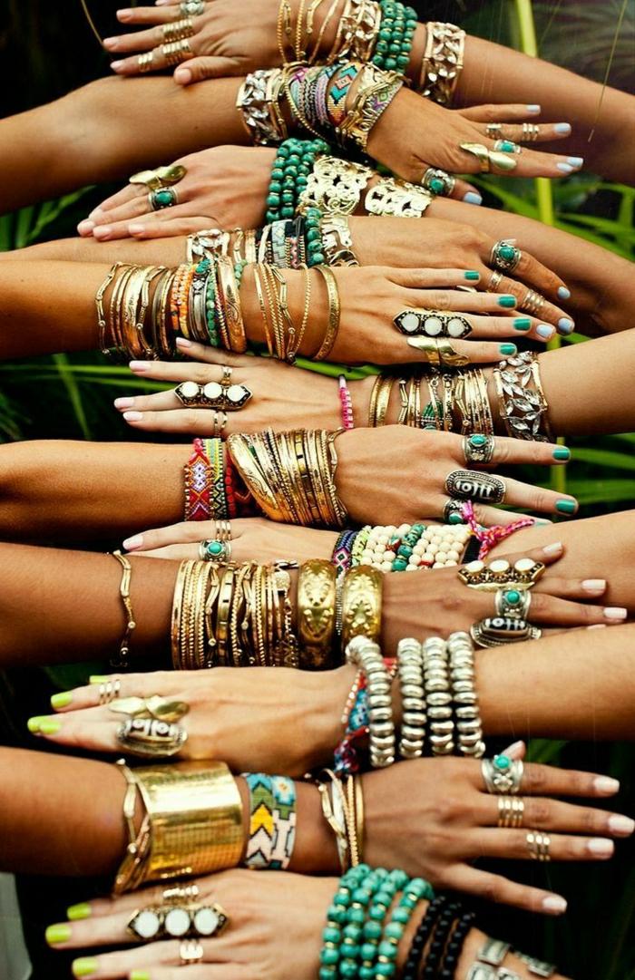 Boho-Mode-Hippie-Stil-Accessoires-Schmuck-Armbänder-Ringe-Metall-golden-Steine-Glasperlen