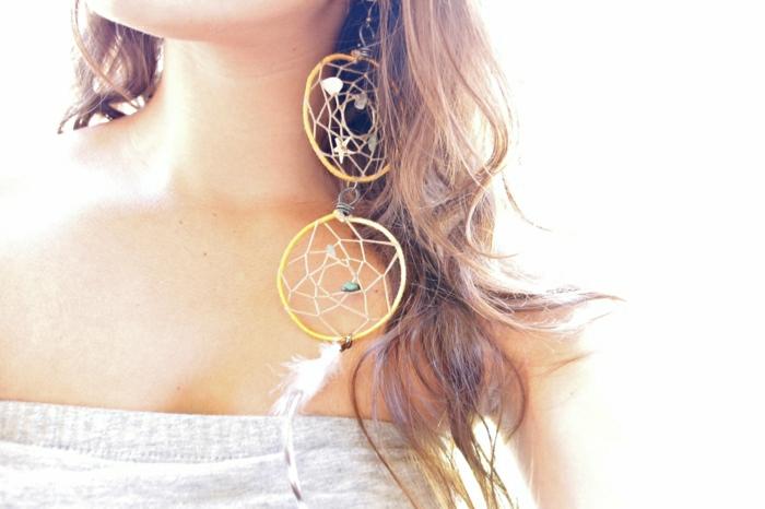 Boho-Ohrringe-Hippie-Stil-Traumfänger-Federn