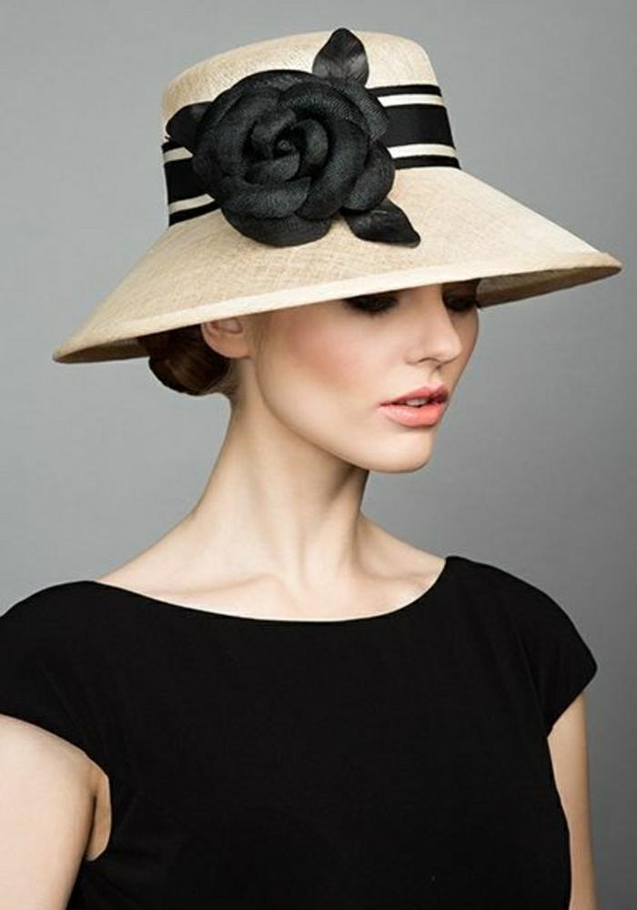 Chanel-Hut-schwarzes-Band-schwarze-handgemachte-Stroh-Kamelien