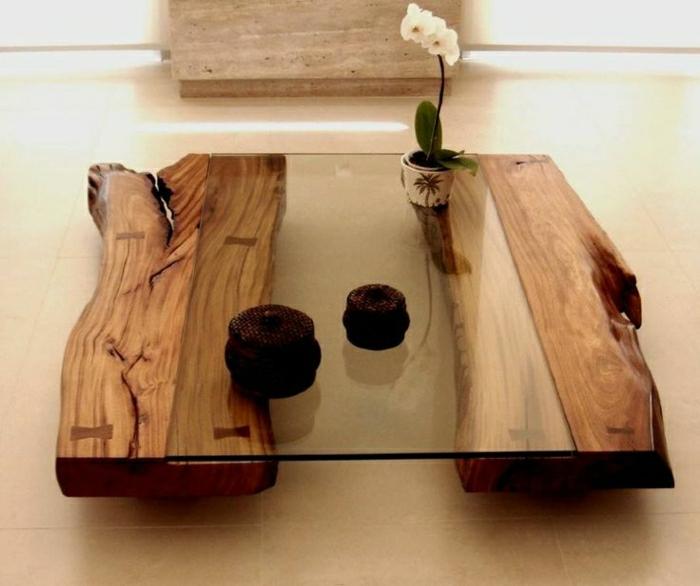 Rustikale Möbel Couchtisch Holz Glas Orchidee
