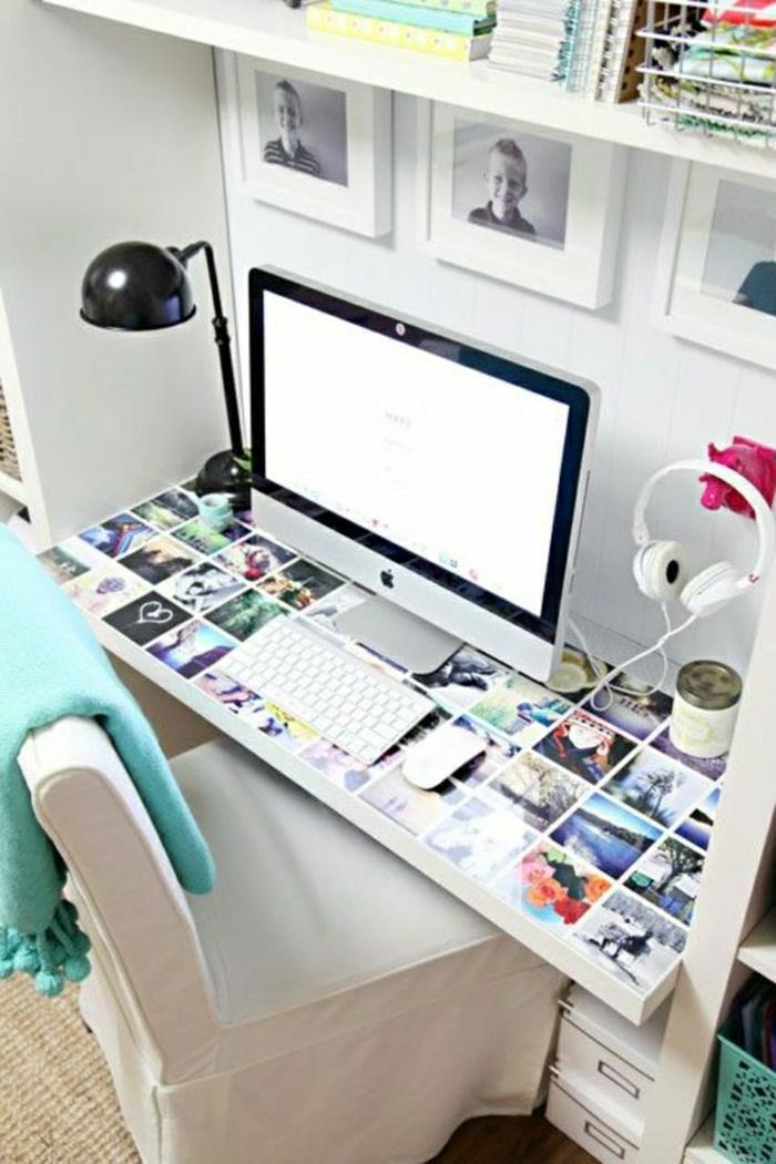 Designer-Schreibtisch-Fotos-Stuhl-weiß-Computer-Schlafdecke-Kopfhörer