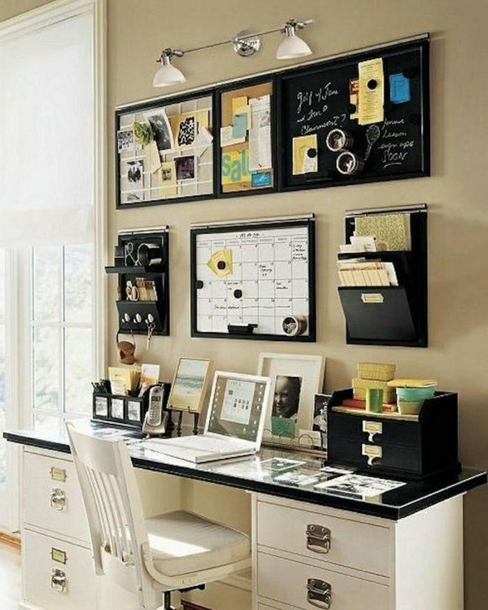 Designer-Schreibtisch-Schubladen-Laptop-Stuhl-weiß-Tafel-Terminplan