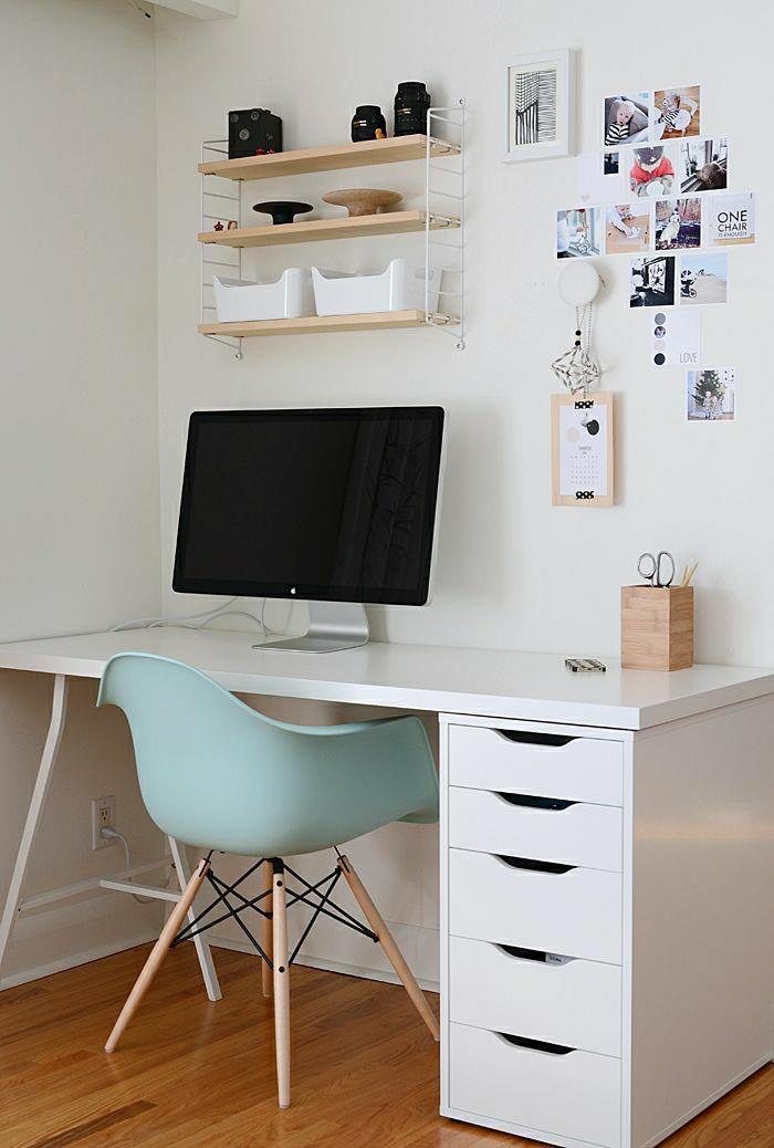 Designer-Schreibtisch-Schubladen-Stuhl-interessantes-Design-Fotos-Computer-hölzerne-Regale
