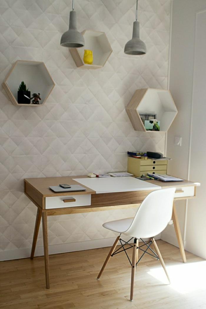 Designer-Schreibtisch-Schubladen-Stuhl-reliefartige-Wand-sechseckige-Regale-industrielle-Lampen