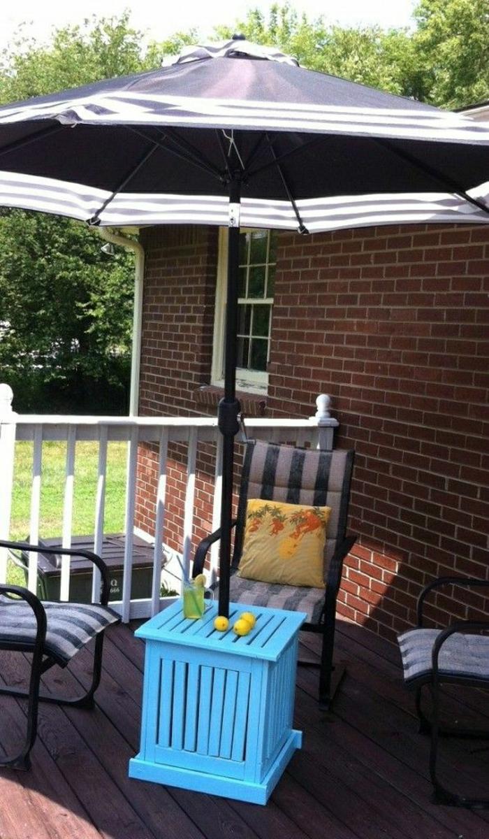Gartenschirme-dunkelblaues-Modell-weiße-Streifen-stilvoll-kleier-blauer-Tisch-Zitronen
