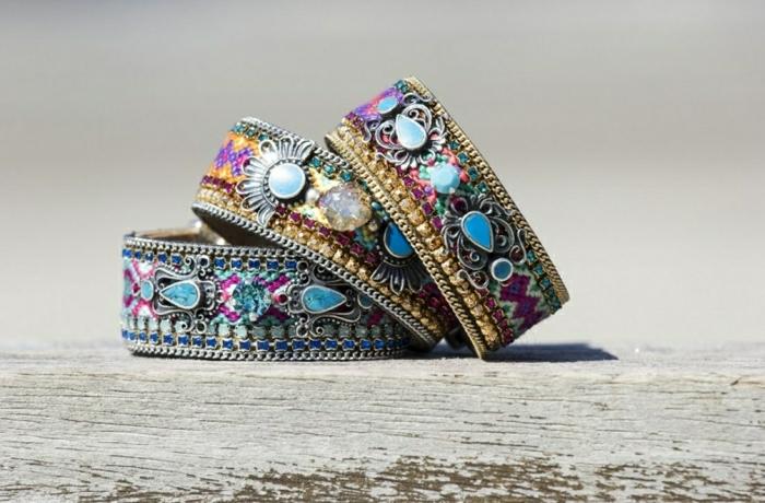 Hippie-Armbänder-Metall-Kristalle-Steine-bunt-Boho