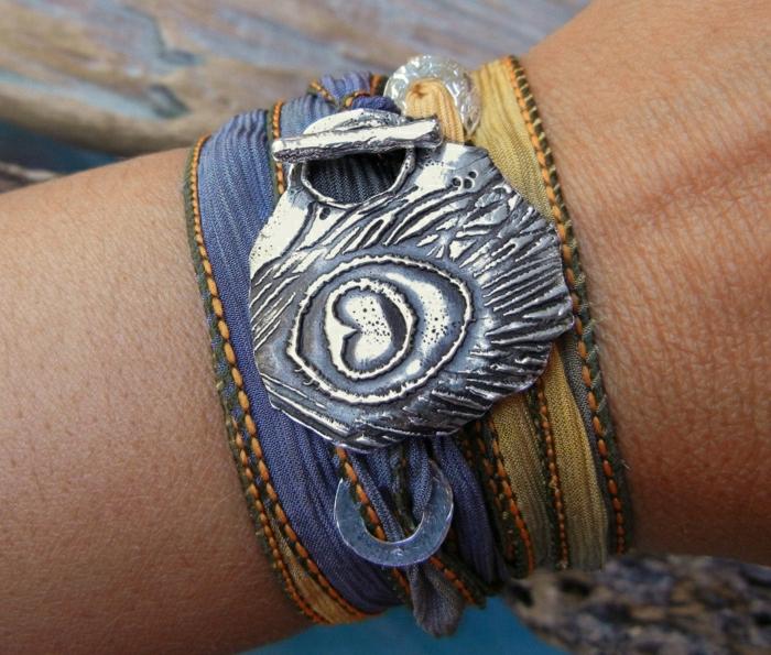 Hippie-Armband-Textil-Metall