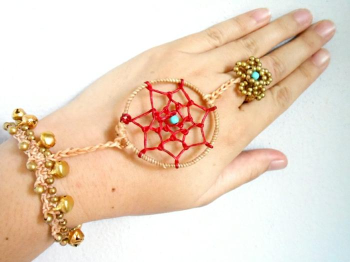 Hippie-Boho-Armband-schwebend-Ring-Traumfänger-attraktiv-Boho-Stil-Accessoire