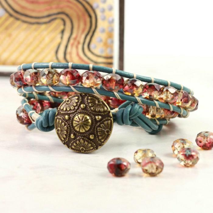 Hippie-Boho-Schmuck-Accessoires-Armband-Leder-Glasperlen-Metall-Element