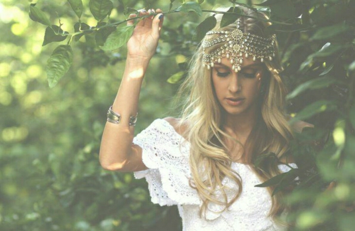Hippie-Boho-Schmuck-Accessoires-Stirnband-Metall-Perlen-Mädchen-Natur