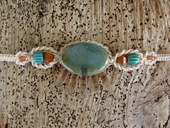 Hippie-Schmuck-Boho-Armband-keramische-Elemente-Porzellan-handgemacht