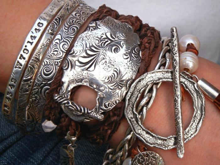 Hippie-Schmuck-SIlber-Leder-Armbänder