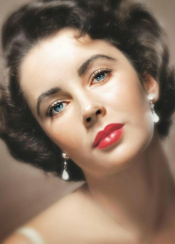 Hollywood-Schauspielerinnen-Elizabeth-Taylor-blaue-Augen-schwarze-Haaren-schön