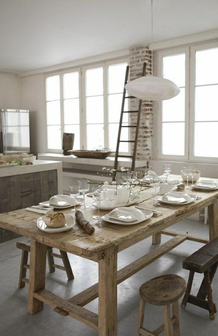 Küche-Esszimmer-rustikales-Design-Holz-weiße-Wände