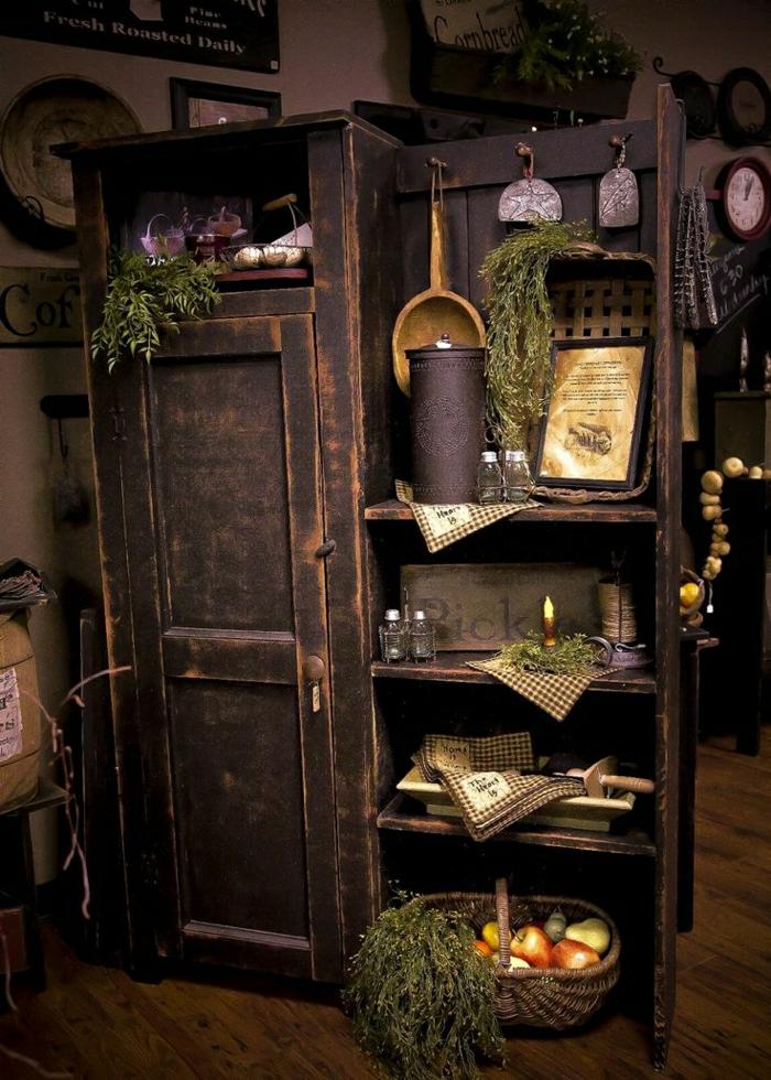 Küche-rustikale-Gestaltung-Küchenschrank-Holz