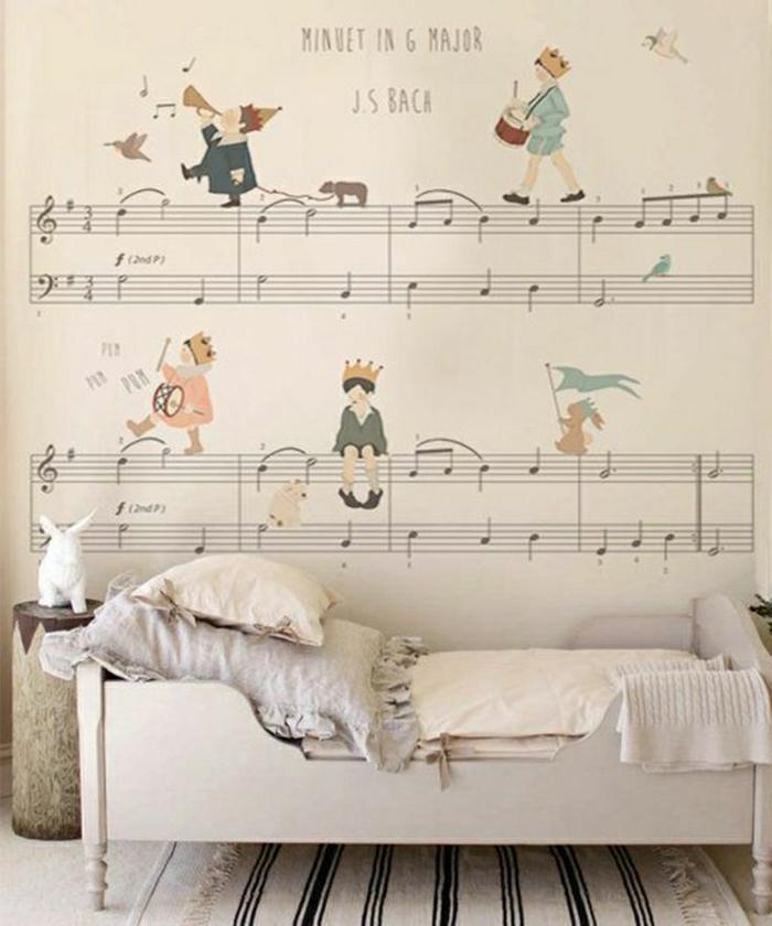 Kinderzimmer-Wand-Dekoration-handgemalt-Noten-Partitur-Bach-Zeichnungen