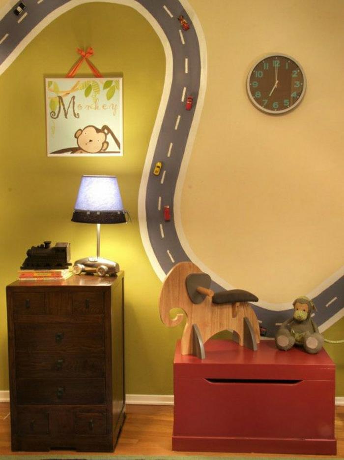 Kinderzimmer-Wanddeko-Zeichnung-Eisenbahnschiene