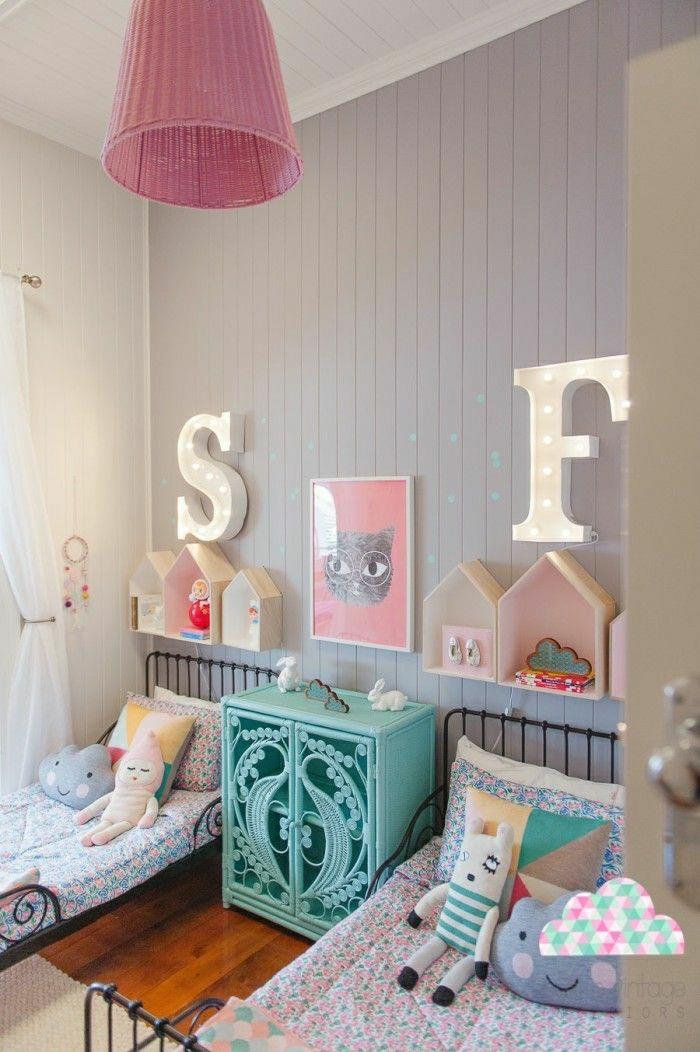 Kinderzimmer-Wanddeko-dekorative-Häuschen-Bild-Katze-Buchstaben