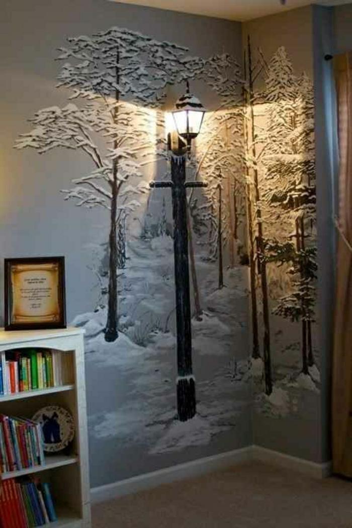 Kinderzimmer-Wanddekoration-Ideen-Winterzeichnung