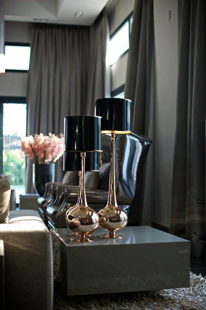 Luxuslampen-schwarz-Metall-Leder-Sessel-schwarz-moderne-Gardinen-Grafit-Farbe