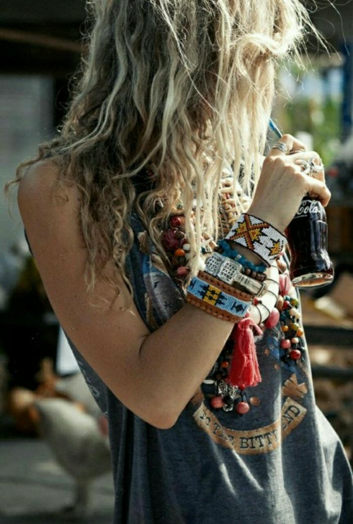 Mädchen-Hippie-Schmuck-Boho-Accessoires-Armbänder-Ketten