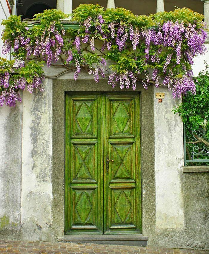Piamonte-Italien-Haus-Haustür-vintage-grün-Blumen