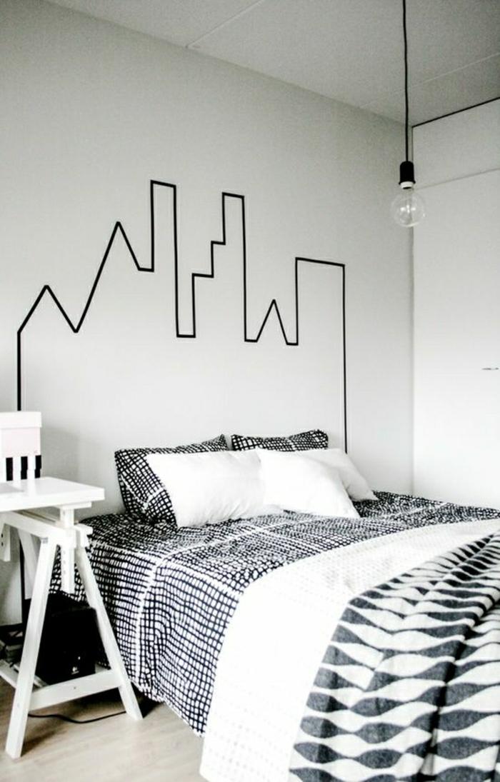 Schlafzimmer-schwarz-weiß-Wanddekoration-Ideen-Zeichnung-mit-schwarzem-Klebeband