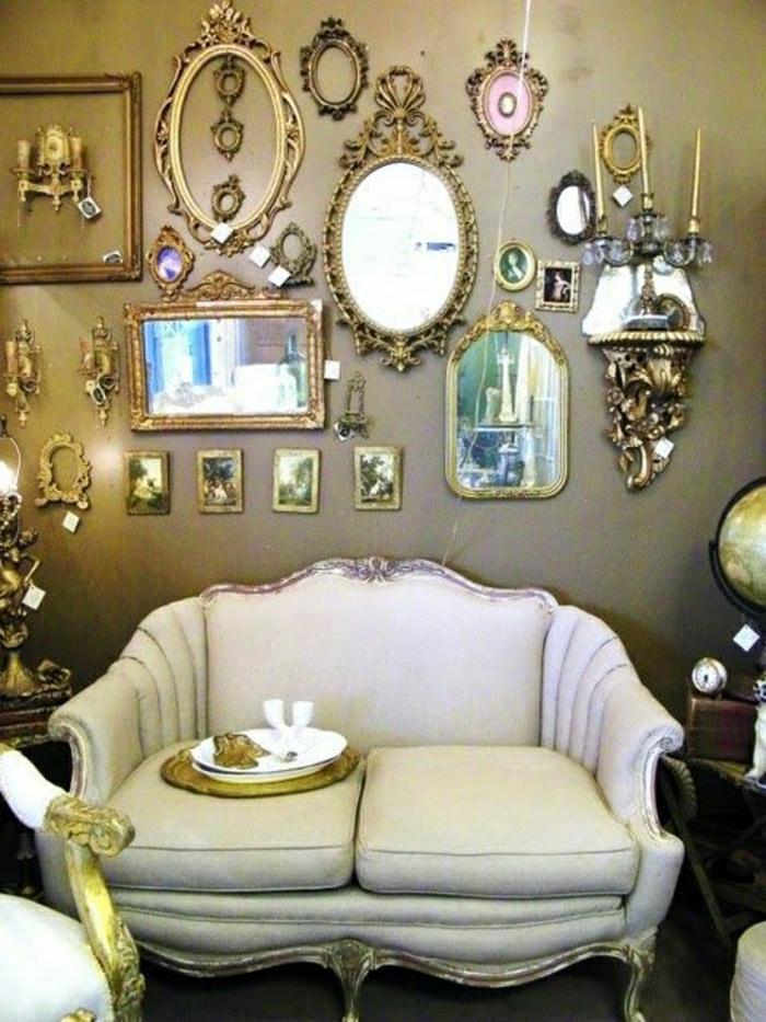 Set-vintage-Spiegel-Rahmen-Metall-gold-Sofa-aristokratisch