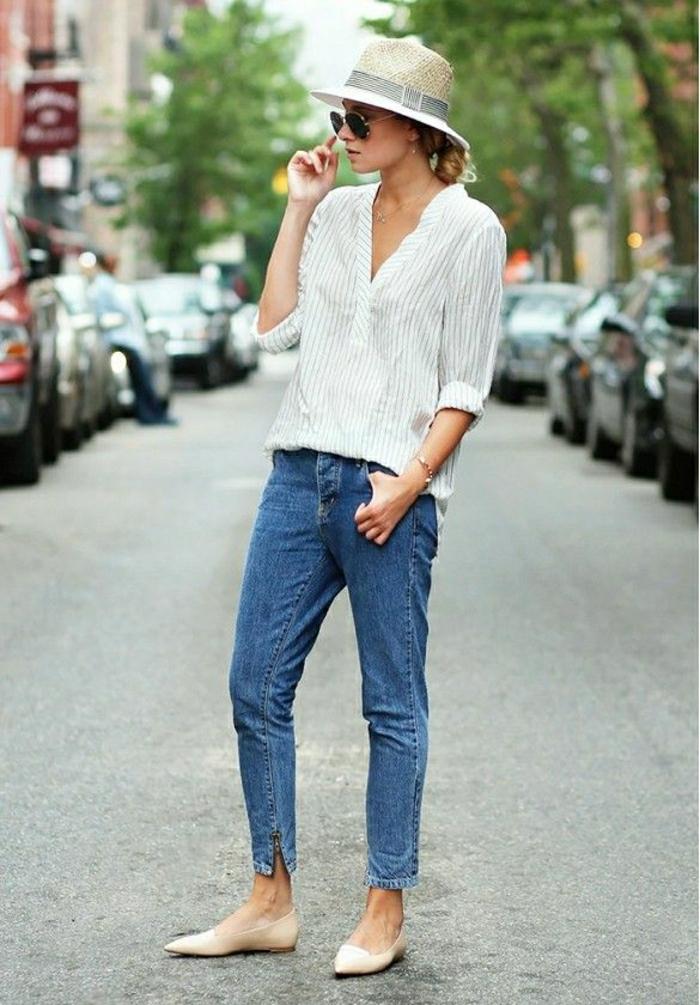 Sommerhut-Damen-Band-Hemd-Streifen-Jeans-Slim-Modell-Schuhe-Körperfarbe-stilvoll