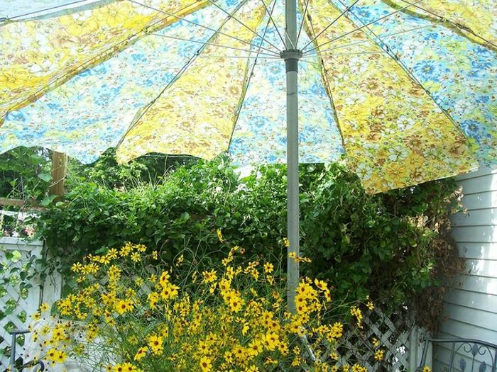 Sonnenschirm-Garten-vintage-grün-blau-Blumen-Muster