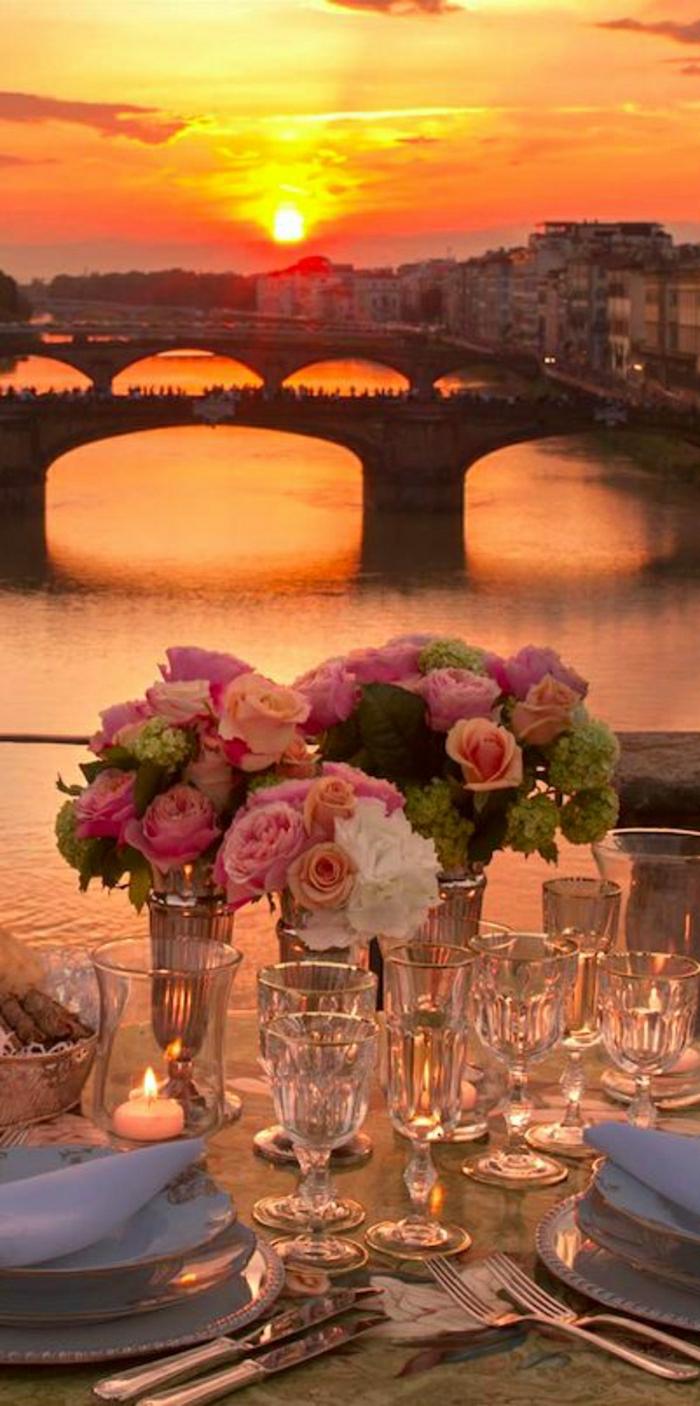 Sonnenuntergang-Hochzeit-Tischdeko-Ponte-Vecchio-Fluss-Arno-Florenz-Italien